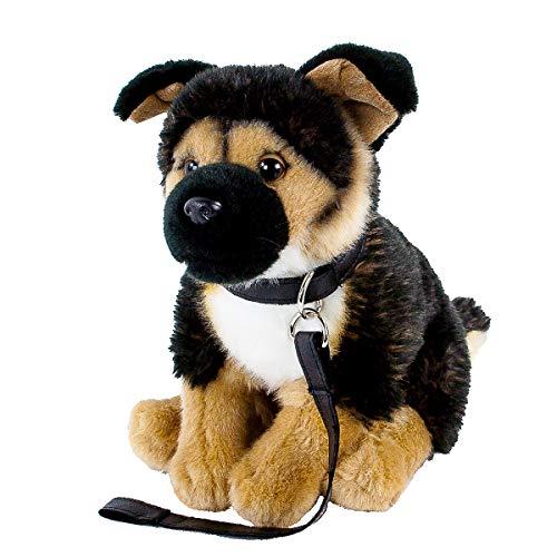 Teddys Rothenburg Kuscheltier Schäferhund mit Leine sitzend braun/schwarz 25 cm Plüschhund