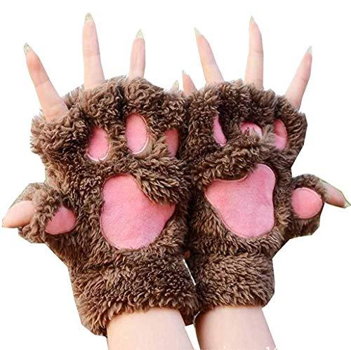 Fingerlos Handschuhe Cat Paw Plüsch Handschuhe Niedliche Cartoon Halbfinger Winter Warme Halbfinger Fausthandschuh Outdoor Fingerless Mitten Handschuhe für Damen Mädchen (Khaki, ONE Size)