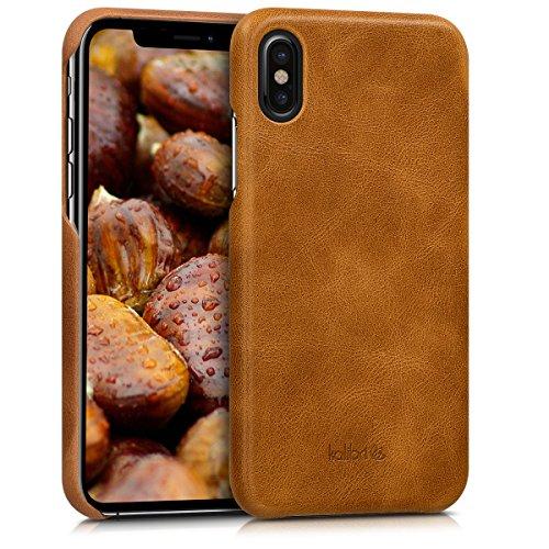 kalibri Hülle kompatibel mit Apple iPhone X - Leder Handy Cover Case - Hardcover Schutzhülle Cognac