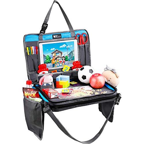 Amzdeal 4 in 1 reistafel kinderen - verstelbare en draagbare kinderzitje speeltafel eettafel, met bekerhouder, iPad hoes, opbergtas, als reisplateau voor autokinderwagen