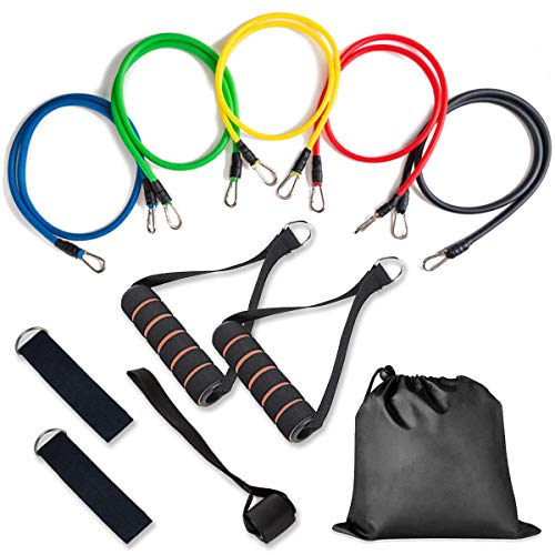 WODFitters Resistance Bands with Handle - 11 Pcs Portable Home Gym in a Bag - 5 Resistance Bands with Soft Grip Handles and Durable Clipping System, Door Anchor, Wrist and Ankle Straps