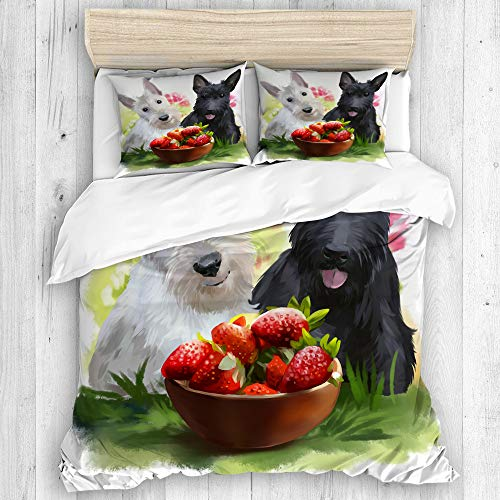 BEITUOLA Bedding - Duvet Cover Set,Two Scotties and strawberries watercolor painting,Zippered Microfibre Duvet Cover Set 200 X 200cm with 2 Pillowcase 50 X 80cm