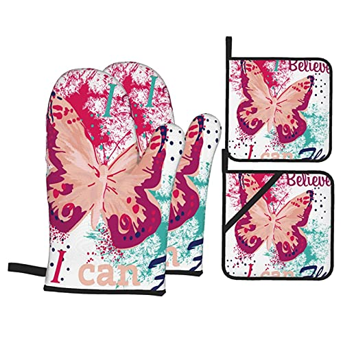 Throwpillow Heat Resistant Oven Mitts and Pot Holders 4 Pcs Sets Typography Vector Graphic Print Tshirt Butterfly Kitchen Cooking Gloves for Microwave Baking Grilling BBQ