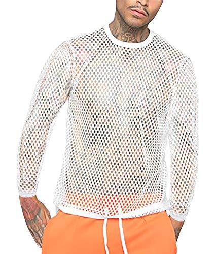 Men's Fishnet Shirts Tank Top - Sexy Long Sleeve Mesh See Through Shirt White Large