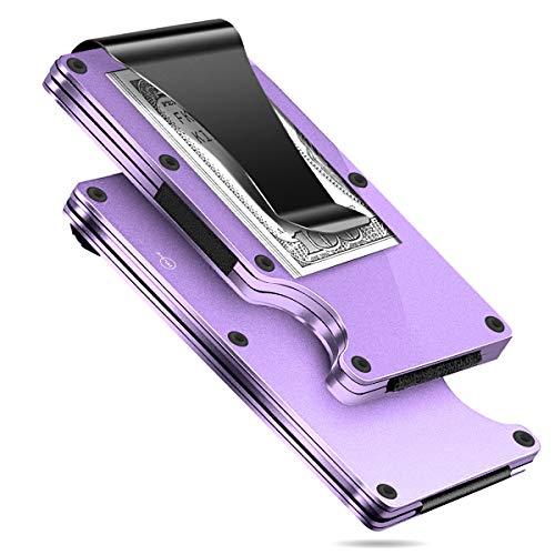 MUCO Porta Carte Di Credito Portafoglio Protezione RFID Metallo Leggero Viaggiare Quotidianamente Uomo Donna Sicurezza Fermasoldi Porpora