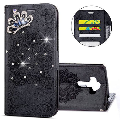 IKASEFU 3D Clear Crown Rhinestone Diamond Bling Glitter Wallet with Card Holder Emboss Mandala Floral Pu Leather Magnetic Flip Case Protective Cover Compatible with LG G4,Black