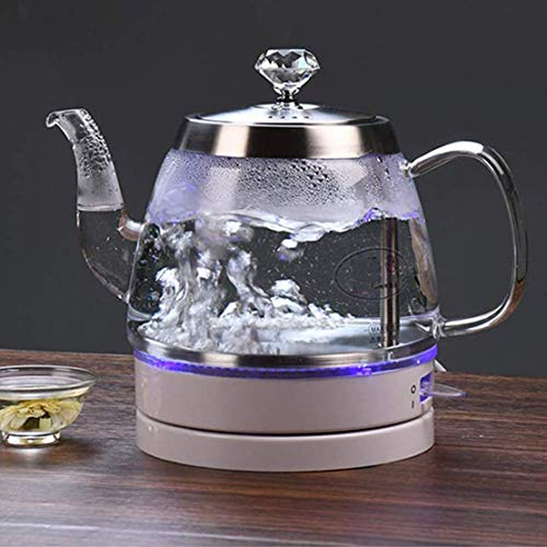 Cocinas de la caldera de té Tetera de cristal Hervidor eléctrico, verde botella de 1 litro de agua con LED iluminado, de acero inoxidable cubierta interior e inferior, de apagado automático de protecc