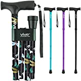 Vive Folding Cane - Foldable Walking Cane for Men, Women - Fold-up, Collapsible, Lightweight, Adjustable, Portable Hand...