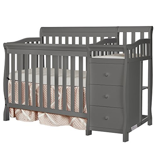 Dream On Me Jayden 4-in-1 Mini Convertible Crib And Changer in Storm Grey,...