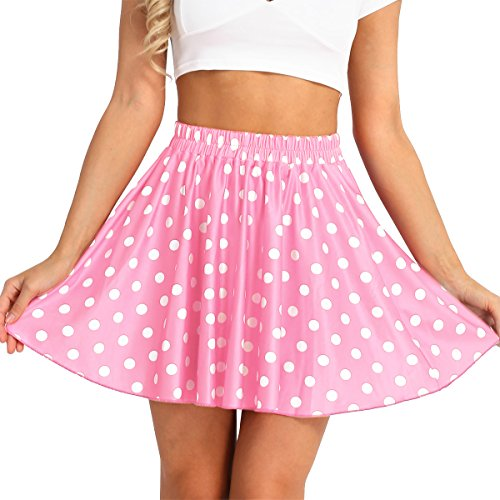 FEESHOW Women's Trendy Polka Dot Elastic Waist Pleated A-Line Summer Skater Mini Skirts Pink One Size