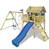 WICKEY Stelzenhaus Smart Travel Spielturm Spielhaus auf Stelzen mit Holzdach, Veranda, blaue Rutsche...