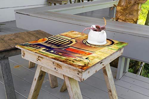 Wallario Aufkleber Selbstklebende Garten-Tisch-Decke - Antiker Oldtimer in Sepiafarben - Frontansicht in 100 x 100 cm