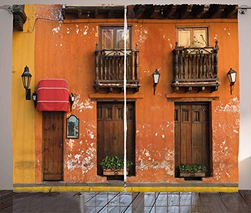ABAKUHAUS Amerika Rustikaler Vorhang, Cartagena Straßen Foto, Wohnzimmer Universalband Gardinen mit Schlaufen und Haken, 280 x 245 cm, Orange Braun