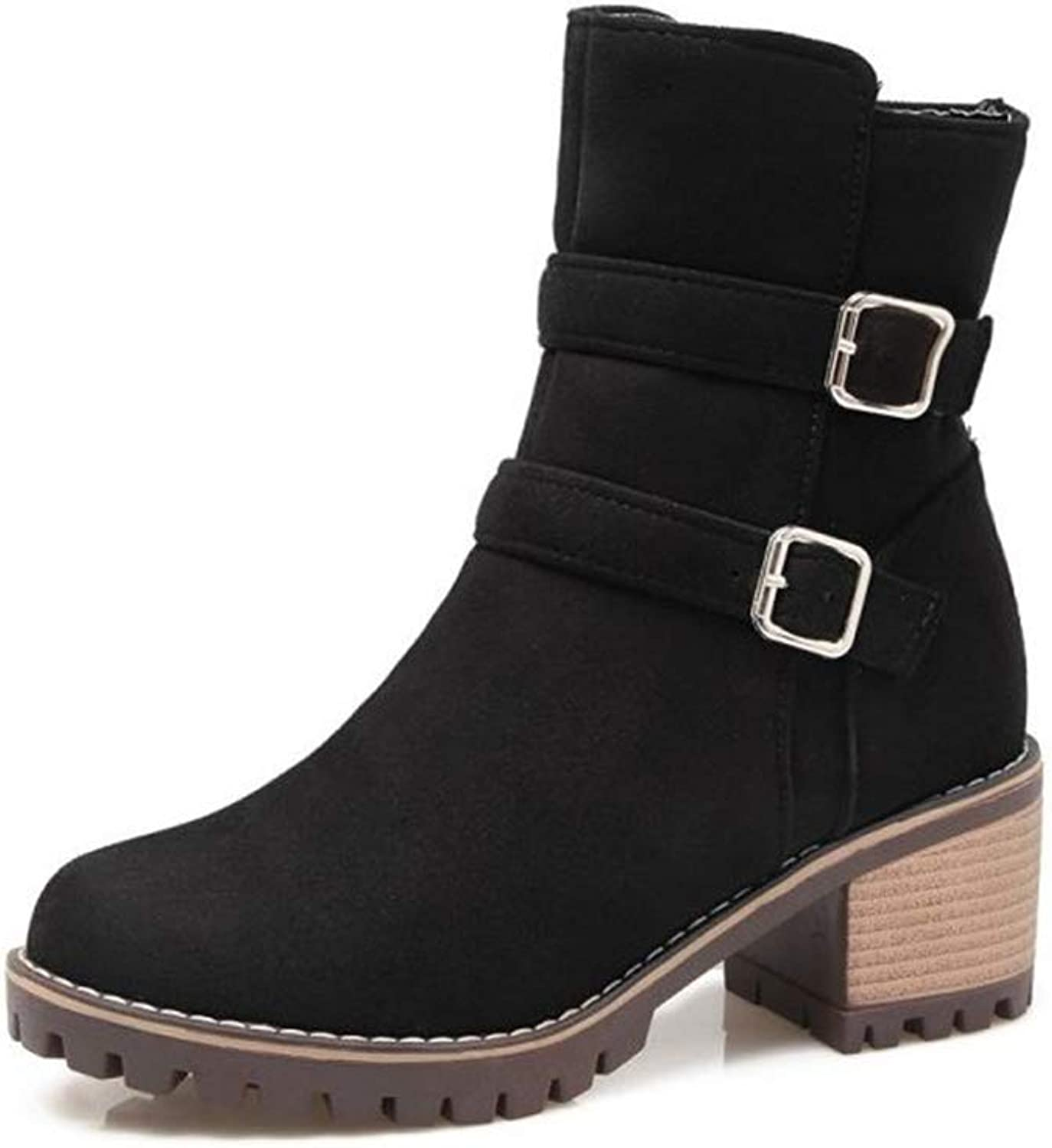 Fashion Women's Comfort Side Zipper Platform Chunky High Heel Ankle Boots