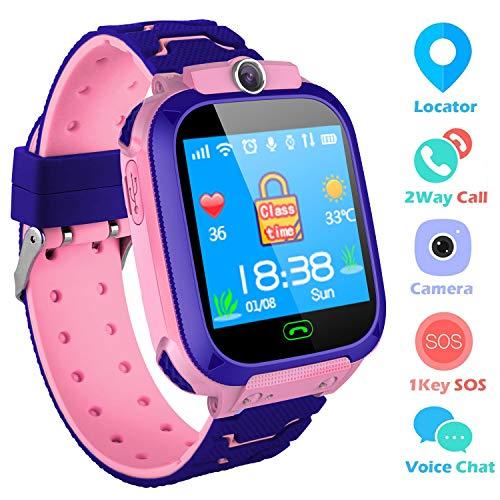 SZBXD Kids Smart Watches Phone, GPS Tracker Camera Touchscreen Smartwatch Games Flashlight SOS Alarm Clock Smart Wrist Watch Christmas Birthday Gifts for Girls Boys (Pink)
