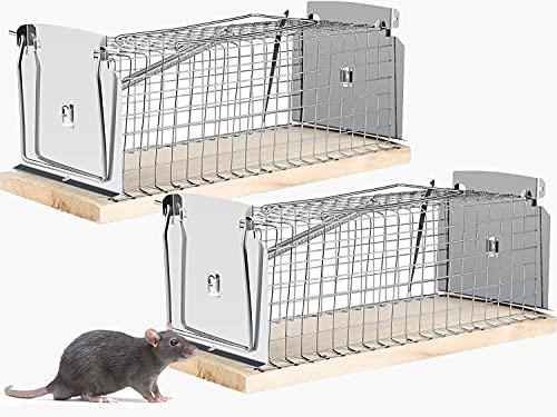2X Jaula Trampa para Ratas Extra Grande sin Daño de 30x12x12,5cm, 2 Trampas XXL para Ratones y Otros Roedores - Ratoneras Profesionales