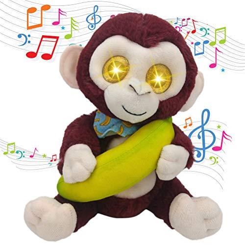 KKPLZZ Mono eléctrico Que Habla de Peluche Suave, Mono eléctrico Que Habla de Peluche Suave Juguete de iluminación Ojo de Dibujos Animados Mono Plátano Muñeco de Peluche Juguete para niños Regalo