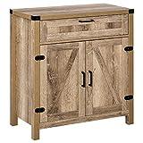 HOMCOM Industrial Wooden Storage Cabinet Kitchen Sideboard with Drawer and Adjustable Shelf for Dining Room, Oak