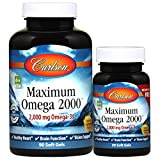 Carlson - Maximum Omega 2000, 2000 mg Omega-3 Fatty Acids Including EPA and DHA, Wild-Caught, Norwegian Fish Oil Supplement, Sustainably Sourced Fish Oil Capsules, Lemon, 90+30 Softgels
