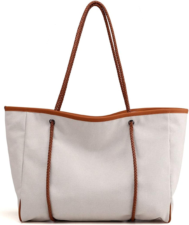 Olprkgdg Damen Freizeit Retro große große große handgewebte Hand Tasche Canvas Bag, grau (Farbe   Weiß) B07N6GVDLG  Kunde zuerst c2ef91