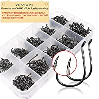 VIPMOON Octopus Fishing Hook - Set of 500pcs/Box/10 Sizes, Small
