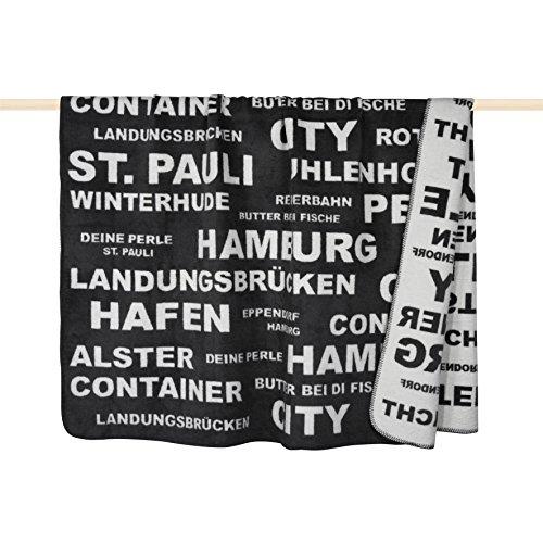Pad - Decke - Kuscheldecke - Wohndecke - Typo - Hamburg - 150 x 200 cm