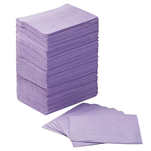 JMU Dental Bibs, Disposable 3 Ply Tissue Napkin Waterproof for Patient Bibs, Tattoo Bibs, Tray Covers, 13' x 18' Lavender, Pack of 125