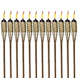 TIKI Brand 1118137 Brown Easy Pour 12-Pack 57 Inch Tiki Torch Bamboo Classic Weave
