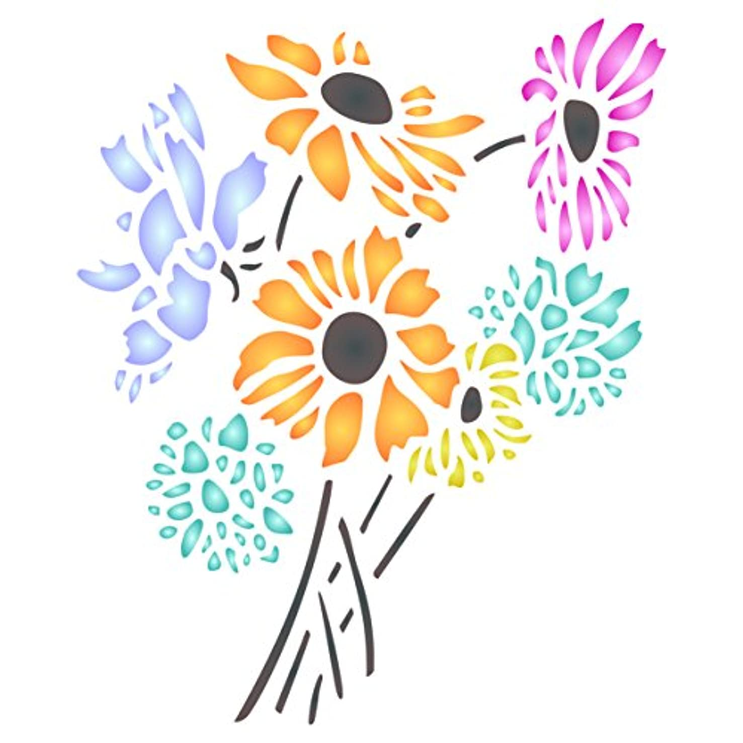 Daisy Flower Stencil - 8.5 x 10.5 inch (L) - Reusable Flora Bouquet Bunch Wall Stencils for Painting - Use on Paper Projects Scrapbook Journal Walls Floors Fabric Furniture Glass Wood etc.