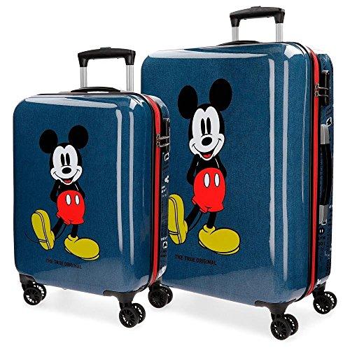 Disney Mickey Blue Set valigie Azzurro 55/68 cms Rigida ABS Chiusura a combinazione numerica 103L 4 doppie ruote Bagaglio a mano