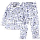 DFDLNL Pijama Grueso Azul Cielo de Flores pequeñas para Mujer, Conjunto de Pijama Acolchado de Tres Capas de algodón, Ropa de Dormir para Mujer, Ropa para el hogar L.