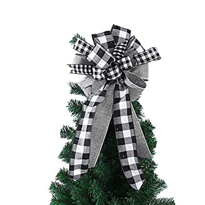 wlflash Christmas Tree Topper baffalo Plaid Bow Black&White Streamer Mesh Streamer for Xmas Ornaments Wreath Decor (Black&White)