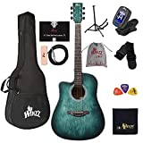 WINZZ HAND RUBBED Series - Left Handed 41 Inches Cutaway Acoustic Guitar Beginner Starter Bundle...