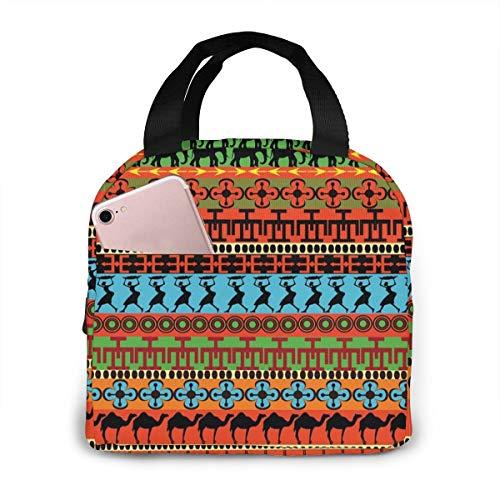 OIVLA Tribal Afrikaanse Vrouwen Olifant Camel Etnische Geïsoleerde Lunch Tote Bag Handtas Lunchbox Gourmet Tote Voedsel Container Aluminium folie Voor Outdoor Picnic