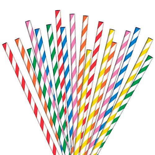 ANSIO Papier strohhalme 200 Mehrfarbig Ideal für Cocktails, kalte Getränke und Säfte Geeignet für Partys, Hochzeiten und alle Gelegenheiten.