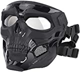 Kayheng Tactical Airsoft Skull Masks Full Face, Adult Deluxe Mask Eye Protection for Halloween BB Paintball Gun Patriots CS Game Cosplay Party Halloween Cosplay Zombie Scary Skeleton Masks