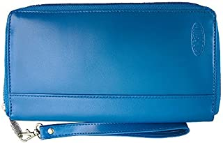 Big Skinny Women's Panther Leather Clutch Slim Wallet Holds Up to 40 Cards Ocean Blue [並行輸入品]