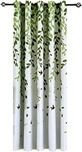 Grommet Window Curtains Panels 63 inches Long for Bedroom Green Tree Leaves Birds Curtains Ring Top Thermal Insulated Drapes for Living Room 1 Panel W39 x L63 Inch