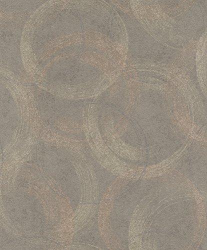 rasch Tapete 467789 aus der Kollektion Vincenza – Vliestapete in Braun mit kontrastierenden Kreisen – 10,05m x 53cm (L x B)