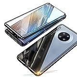 Jonwelsy Funda para Huawei Mate 30 Pro, Adsorción Magnética Parachoques de Metal con 360 Grados Protección Case Cover Transparente Ambos Lados Vidrio Templado Cubierta para Huawei Mate 30 Pro (Negro)