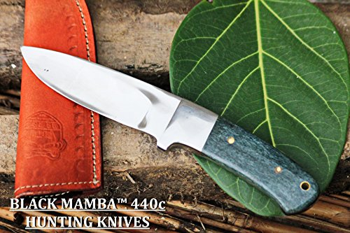 BLACK MAMBA KNIVES BMK-144 Green Fish 4.5 Inches Blade 440c Stainless Steel Hunting Knife Mirror...