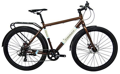 Tommaso Classico - Shimano Tourney Hybrid City Disc Brake Bike, with Rear Rack, Fenders, Kickstand - Large
