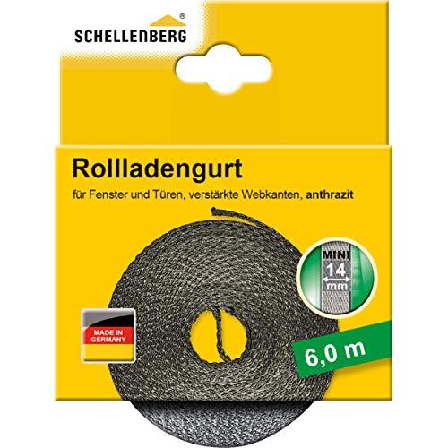Schellenberg 46010 Rollladengurt 14 mm x 6 m - System MAXI, anthrazit, Rolladengurt, Gurtband, Rolladenband