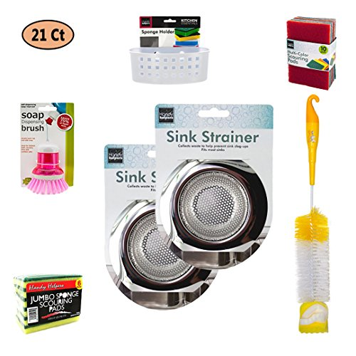 2 PCS Kitchen Sink Strainer - Heavy Duty Stainless Steel with cleaning Bundle