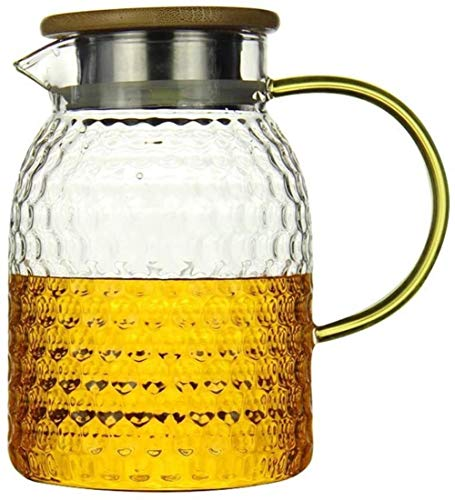 Tetera hervidor de agua de 1,5 l, jarra de cristal con tapa y jarra de cristal sin fugas de agua, 100% sin BPA, con tapa, jarra con inserto para flor té taza
