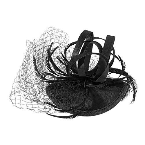 dailymall Fleur Net Plumes Chapeau Fascinator Épingles À Cheveux Clips De Mariage Dames Jour Race Royal Ascot - Noir