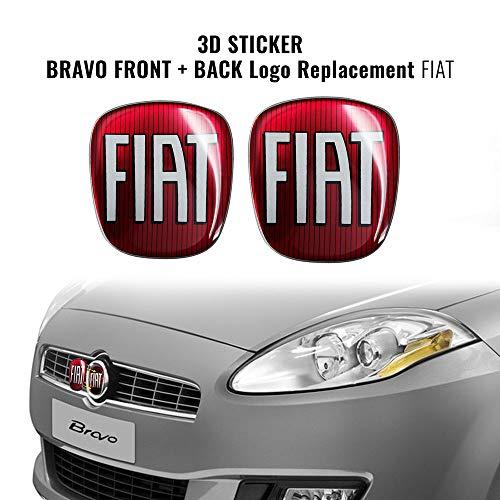 AMS 14214-14181A Adesivo Fiat 3D Ricambio Logo Anteriore + Posteriore per Bravo