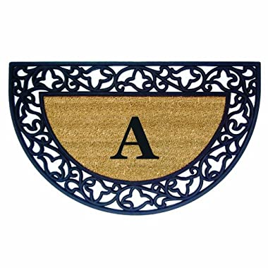 Nedia Home Acanthus Border with Half Round Rubber/Coir Doormat, 22 by 36-Inch, Monogrammed A