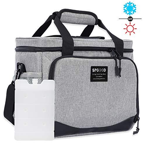 SPGOOD 40L Kühltasche Thermotasche Picknicktasche Lunchtasche Isolierte Mittagessen Auslaufsichere Wiederverwendbare Essenstasche Campingtasche mit Verstellbarer Schulterriemen