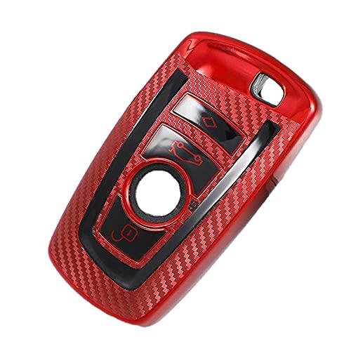 ZFTB Funda para llave de coche de fibra de carbono, compatible con BMW 520 525 F30 F10 F18 118I 320I 1 3 5 7 Series X3 X4 M3 M4 M5 Car styling Shell rojo